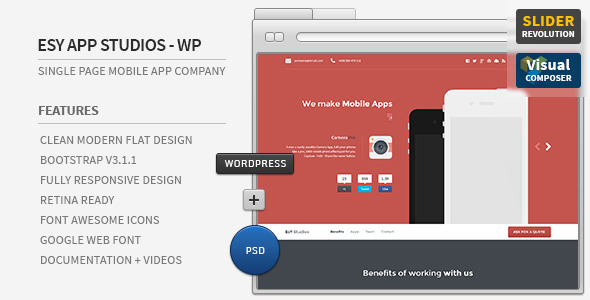 Awesome App - Responsive Parallax WordPress Showcase